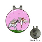 Unicorn And Fairy In A Grass Field And Sparkles Hat Clip with Golf Ball Marker Front