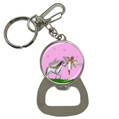 Unicorn And Fairy In A Grass Field And Sparkles Bottle Opener Key Chain by goldenjackal