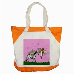 Unicorn And Fairy In A Grass Field And Sparkles Accent Tote Bag by goldenjackal