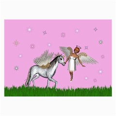 Unicorn And Fairy In A Grass Field And Sparkles Canvas 12  X 18  (unframed) by goldenjackal