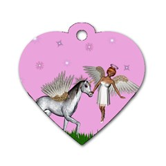 Unicorn And Fairy In A Grass Field And Sparkles Dog Tag Heart (one Sided)  by goldenjackal