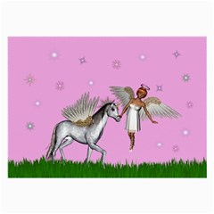Unicorn And Fairy In A Grass Field And Sparkles Glasses Cloth (large) by goldenjackal