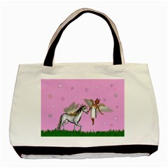 Unicorn And Fairy In A Grass Field And Sparkles Twin Sided Black Tote Bag by goldenjackal