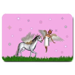 Unicorn And Fairy In A Grass Field And Sparkles Large Door Mat by goldenjackal