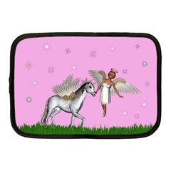 Unicorn And Fairy In A Grass Field And Sparkles Netbook Sleeve (medium) by goldenjackal