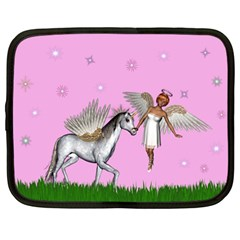 Unicorn And Fairy In A Grass Field And Sparkles Netbook Sleeve (large) by goldenjackal
