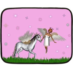 Unicorn And Fairy In A Grass Field And Sparkles Mini Fleece Blanket (two Sided) by goldenjackal