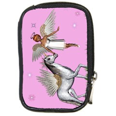 Unicorn And Fairy In A Grass Field And Sparkles Compact Camera Leather Case