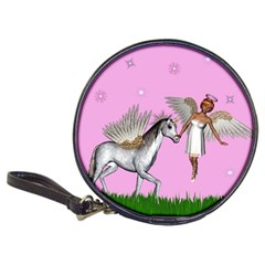 Unicorn And Fairy In A Grass Field And Sparkles Cd Wallet