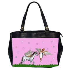 Unicorn And Fairy In A Grass Field And Sparkles Oversize Office Handbag (two Sides) by goldenjackal