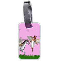 Unicorn And Fairy In A Grass Field And Sparkles Luggage Tag (two Sides) by goldenjackal