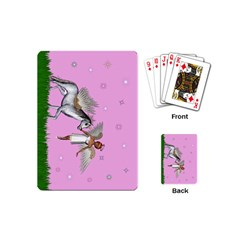 Unicorn And Fairy In A Grass Field And Sparkles Playing Cards (mini) by goldenjackal