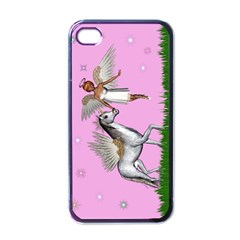 Unicorn And Fairy In A Grass Field And Sparkles Apple Iphone 4 Case (black)