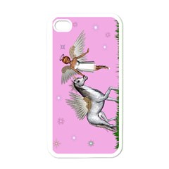 Unicorn And Fairy In A Grass Field And Sparkles Apple Iphone 4 Case (white) by goldenjackal
