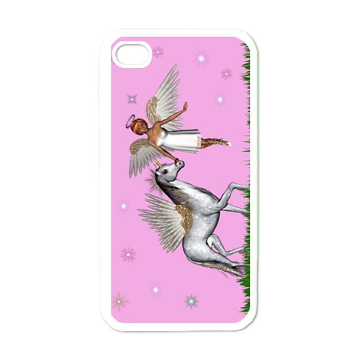 Unicorn And Fairy In A Grass Field And Sparkles Apple iPhone 4 Case (White)