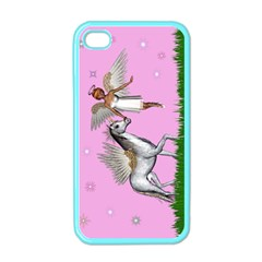 Unicorn And Fairy In A Grass Field And Sparkles Apple Iphone 4 Case (color) by goldenjackal