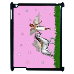 Unicorn And Fairy In A Grass Field And Sparkles Apple Ipad 2 Case (black) by goldenjackal