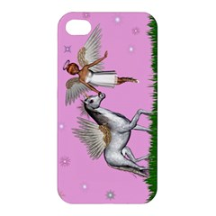 Unicorn And Fairy In A Grass Field And Sparkles Apple Iphone 4/4s Hardshell Case by goldenjackal
