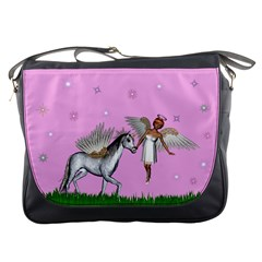 Unicorn And Fairy In A Grass Field And Sparkles Messenger Bag by goldenjackal