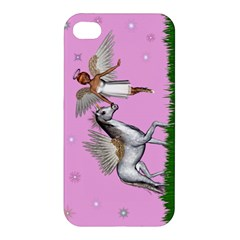With A Unicorn And Fairy In A Grass Field And Sparkles Apple Iphone 4/4s Premium Hardshell Case by goldenjackal