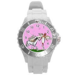 Unicorn And Fairy In A Grass Field And Sparkles Plastic Sport Watch (large) by goldenjackal