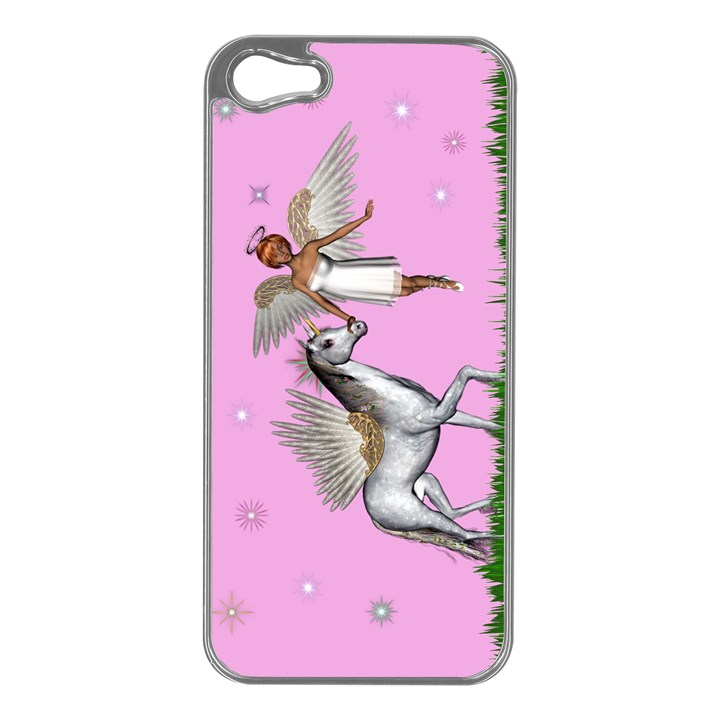 with a Unicorn And Fairy In A Grass Field And Sparkles Apple iPhone 5 Case (Silver)
