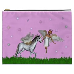 Unicorn And Fairy In A Grass Field And Sparkles Cosmetic Bag (xxxl) by goldenjackal