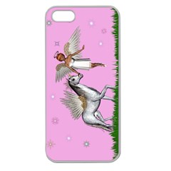 Unicorn And Fairy In A Grass Field And Sparkles Apple Seamless Iphone 5 Case (clear) by goldenjackal