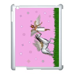 Unicorn And Fairy In A Grass Field And Sparkles Apple Ipad 3/4 Case (white) by goldenjackal