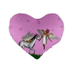Unicorn And Fairy In A Grass Field And Sparkles 16  Premium Heart Shape Cushion  by goldenjackal