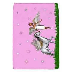 Unicorn And Fairy In A Grass Field And Sparkles Removable Flap Cover (large) by goldenjackal