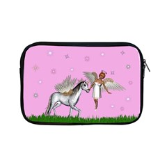 Unicorn And Fairy In A Grass Field And Sparkles Apple Ipad Mini Zippered Sleeve by goldenjackal