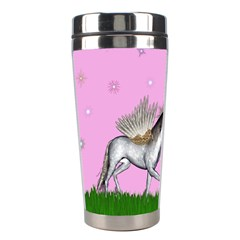 Unicorn And Fairy In A Grass Field And Sparkles Stainless Steel Travel Tumbler by goldenjackal