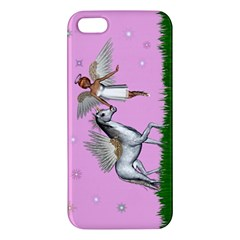 Unicorn And Fairy In A Grass Field And Sparkles Iphone 5s Premium Hardshell Case by goldenjackal