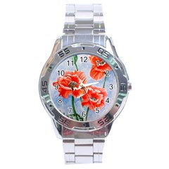 Poppies Stainless Steel Watch by ArtByThree