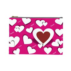 Valentine Hearts  Cosmetic Bag (large) by Colorfulart23