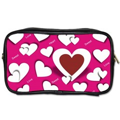 Valentine Hearts  Travel Toiletry Bag (two Sides) by Colorfulart23
