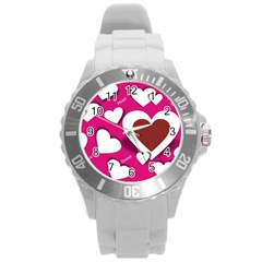 Valentine Hearts  Plastic Sport Watch (large) by Colorfulart23