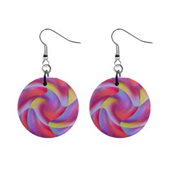Colored Swirls Mini Button Earrings by Colorfulart23