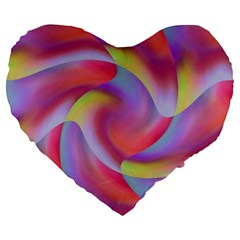 Colored Swirls 19  Premium Heart Shape Cushion by Colorfulart23