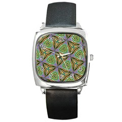 Elegant Retro Art Square Leather Watch by Colorfulart23