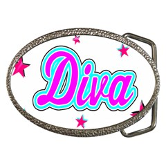 Pink Diva Belt Buckle (oval) by Colorfulart23