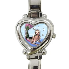 Mermaid On The Beach Heart Italian Charm Watch
