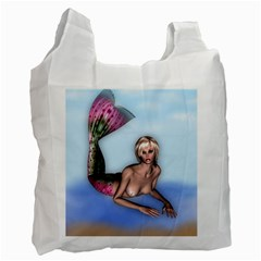 Mermaid On The Beach Recycle Bag (one Side) by goldenjackal