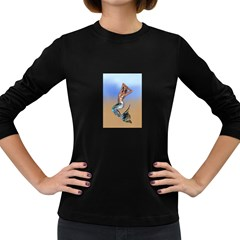 Sexy Mermaid On Beach Women s Long Sleeve T Shirt (dark Colored)
