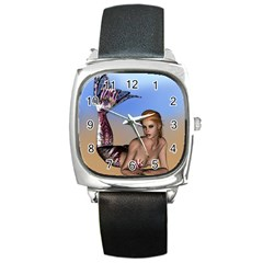 Mermaid On The Beach  Square Leather Watch by goldenjackal