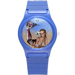 Mermaid On The Beach  Plastic Sport Watch (small) by goldenjackal