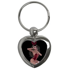 Miss Bunny In Red Lingerie Key Chain (heart) by goldenjackal