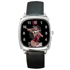 Miss Bunny In Red Lingerie Square Leather Watch by goldenjackal
