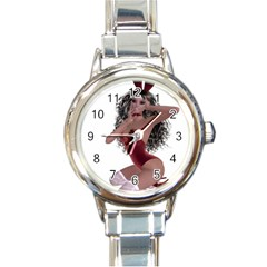 Miss Bunny In Red Lingerie Round Italian Charm Watch by goldenjackal